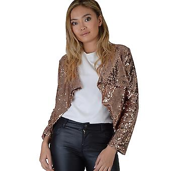 Lovemystyle Copper Gold All Over Sequin Waterfall Jacket