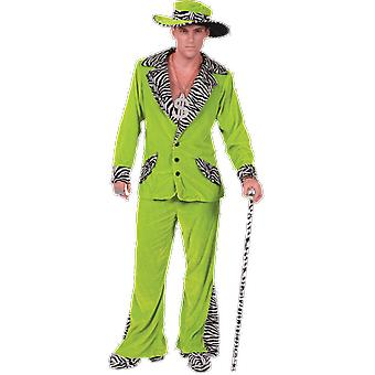 Orion Costumes Mens 70s Green Velvet Pimp Suit And Gangster Hat Novelty Fancy Dress