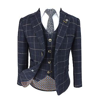 Cavani Shelby Wool Effect Navy Blue Check Tweed Suit