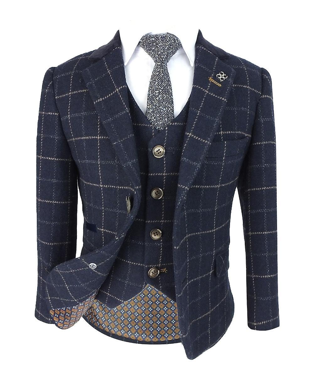 Costume de Tweed Cavani Shelby laine effet cocher bleu marine