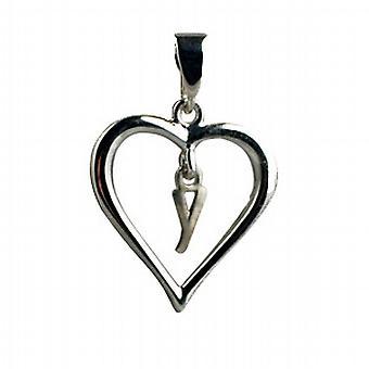 Silber Herz Anhänger mit einem hängenden ersten Y
