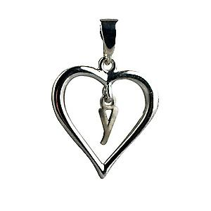 Silver heart Pendant with a hanging Initial Y