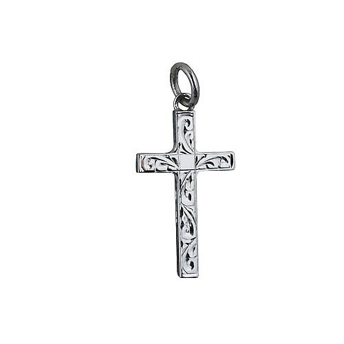 9ct White Gold 25x15mm hand engraved solid block Cross