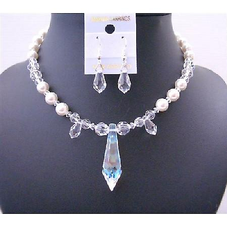 Swarovski Clear Crystals & White Pearls w/ Teardrop Custom Jewelry Set