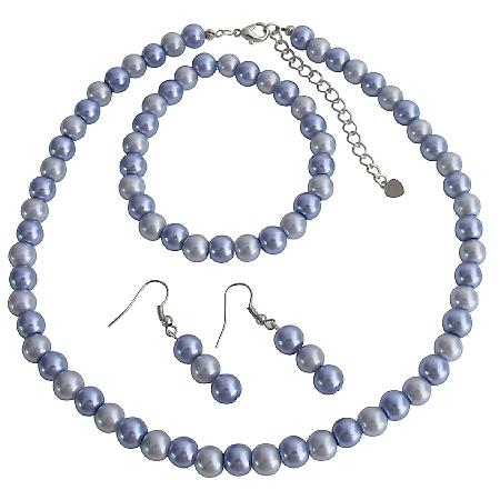Handmade Lilac Pearls Necklace Earrings Stretchable Bracelet Set