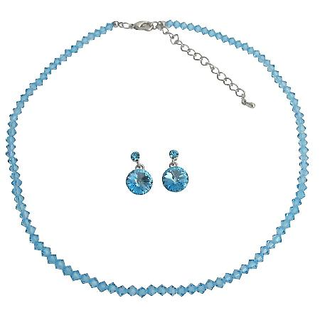 Fashionable Affordable Beautiful Aquamarine Crystal Jewelry Set