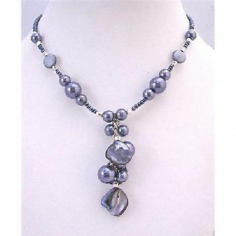Grey Cultured Pearl Shell Choker Necklace Dangling Wonderful Jewelry