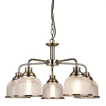 Bistro Ii antik messing fem lys rundt vedhæng - projektør 1685-5AB