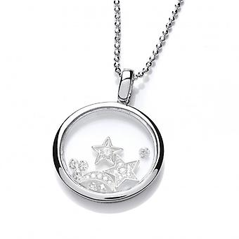 Cavendish French Celestial Silver and CZ Sky and Night Pendant with Silver Chain