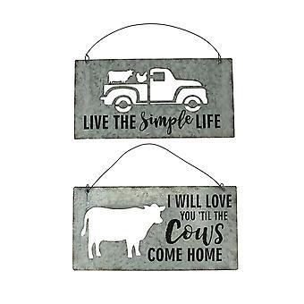 Cutout Tin Cow and Truck Farmhouse Decor 2 Piece Wall Hanging Set
