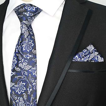 Blue white & silver floral pattern tie & pocket square