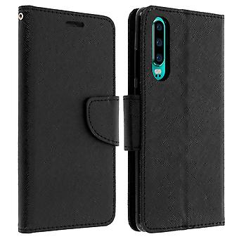 Fancy style cover, wallet case with stand for Huawei P30 - Black