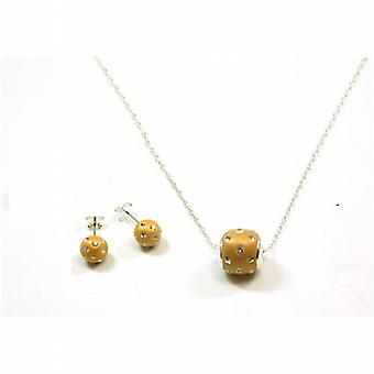 TOC Sterling Silver Goldtone Clear Crystal Studs & Pendant Necklace 18