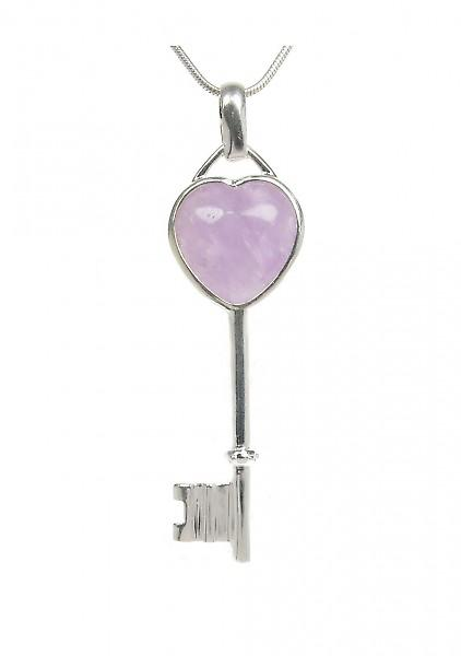 Cavendish French Silver and amethyst heart key pendant without Chain