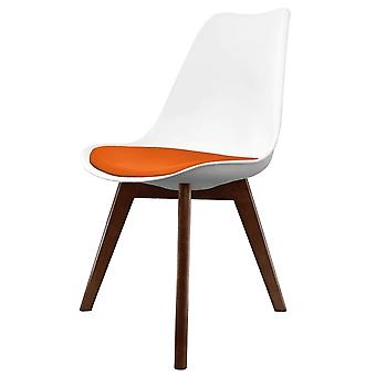 Fusion Living Eiffel Inspired White And Orange Dining Chair With Squared Dark Wood Legs