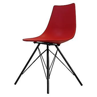 Chaise de salle à manger en plastique rouge iconique de fusion vivante avec des jambes noires de métal