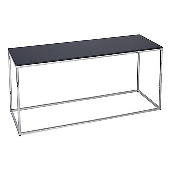 Gillmore Space Black Glass And Silver Metal Contemporary TV Stand