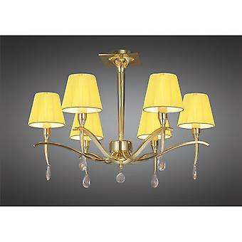Siena Semi Ceiling Round 6 Light E14, Polished Brass With Amber Cream Shades And Clear Crystal
