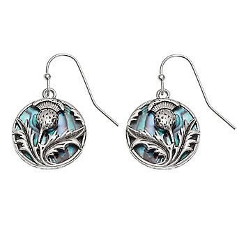 Eternal Collection Thistle Paua Shell Silver Tone Drop Pierced Earrings