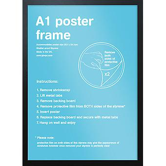 Eton sort ramme A1 plakat / Print stel