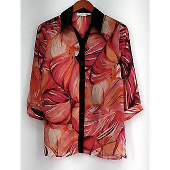 Susan Graver Top XXS Stampato Sheer Chiffon Button Front A254352