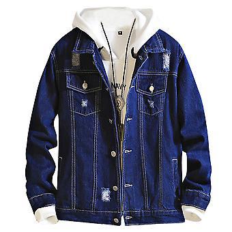 Allthemen Men's Denim Jacket Hole Cotton Lapel Autumn Cowboy Jacket