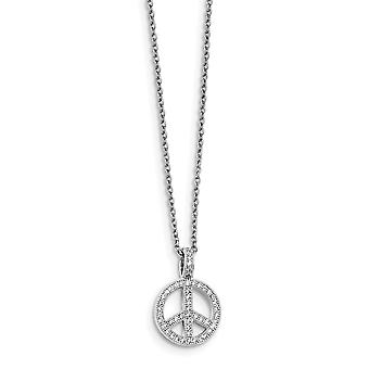 925 Sterling Silver Pave Rhodium-plated Lobster Claw Closure and Cubic Zirconia Brilliant Embers Polished Peace Necklace