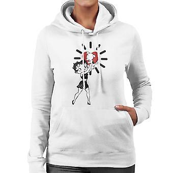 Betty Boop Pudgy Herz Pose Frauen's Kapuzen Sweatshirt