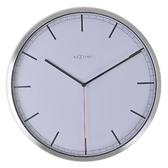 NeXtime - Wall clock – 35 x 4.2 cm – Aluminum - White - 'Company Stripe'