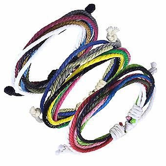 Urban Male Set of Three Multi-coloured Cord Surfer Style Bracelets
