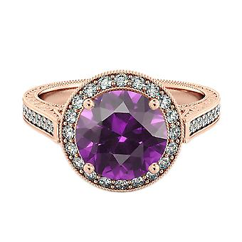 Amethyst 2.10 ctw Ring with Diamonds 14K Rose Gold Halo Filigree With Accents