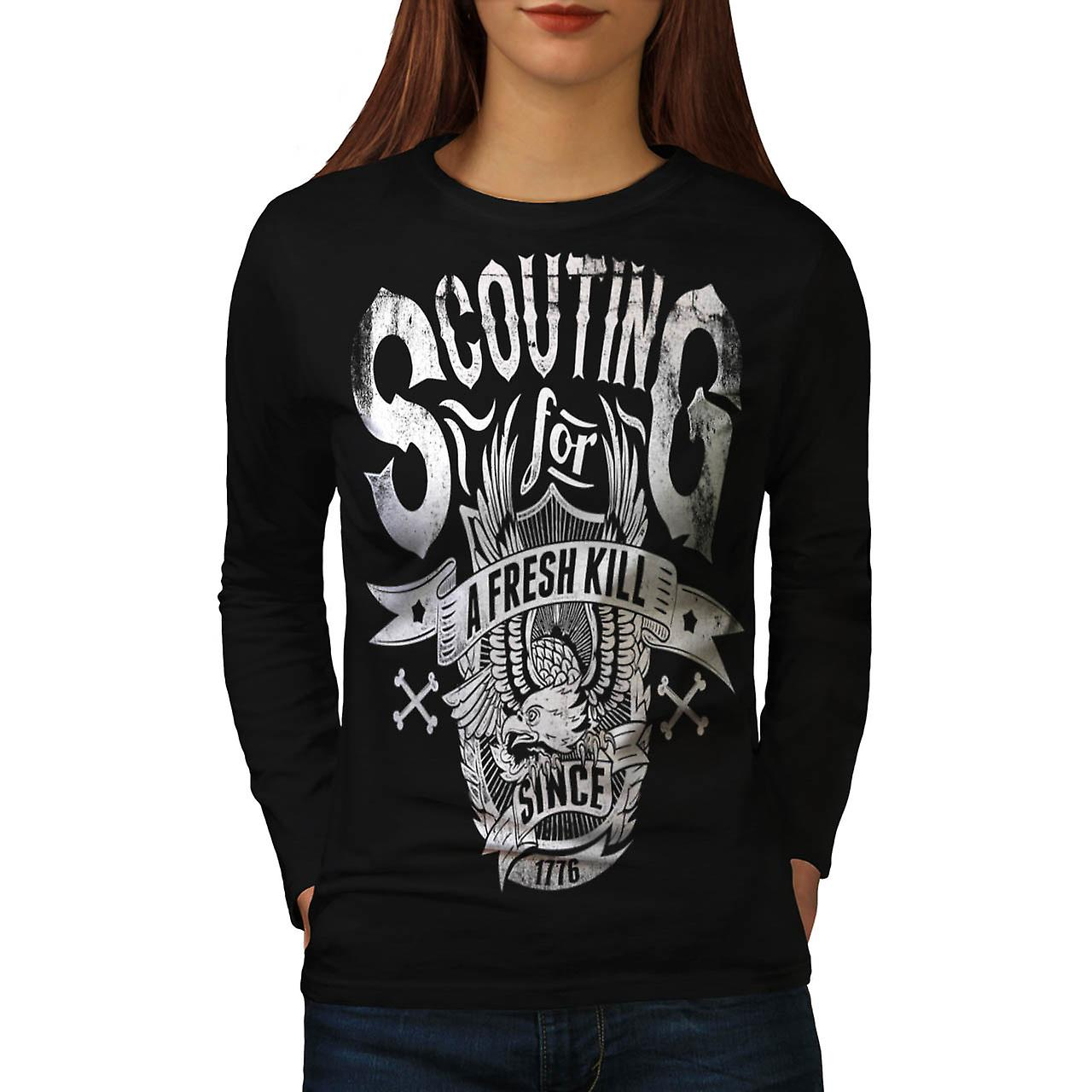 Eagle Fresh Kill Eat Scout Club Women Black Long Sleeve T-shirt | Wellcoda