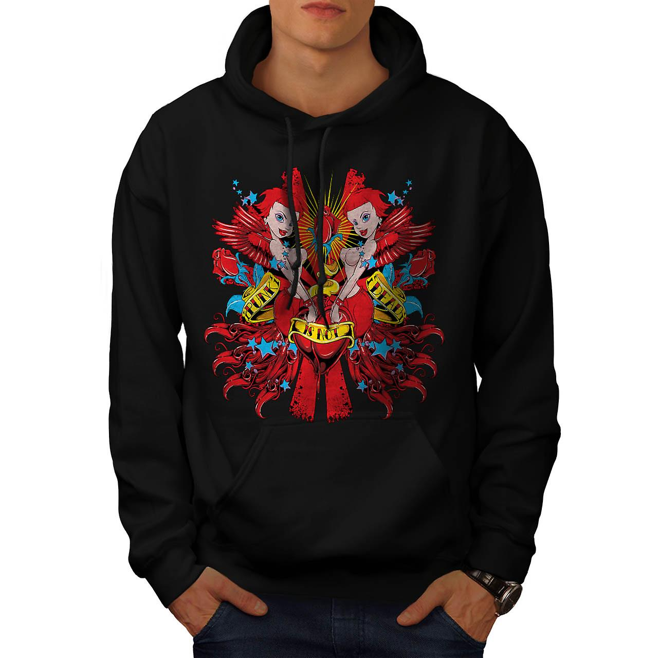 Punk Is Not Dead Girl Mermaid Men Black Hoodie | Wellcoda