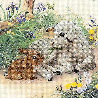 Lamb And Rabbit Counted Cross Stitch Kit-11.75