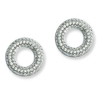 Sterling Silver and Cubic Zirconia Brilliant Embers Circle Post Earrings