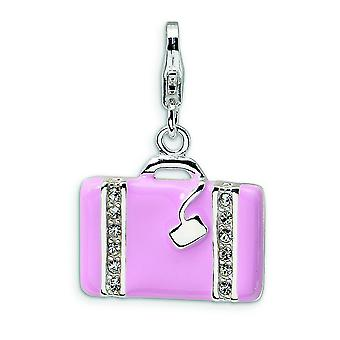 Sterling Silver Swarovski Element Crystal Laptop Bag With Lobster Clasp Charm - Measures 26x17mm