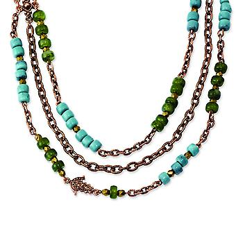 Copper-tone Green Teal and Brown Acrylic Beads 42inch Necklace