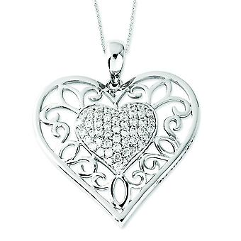 Sterling Silver Antiqued Cubic Zirconia To My Daughter 18inch Heart Necklace