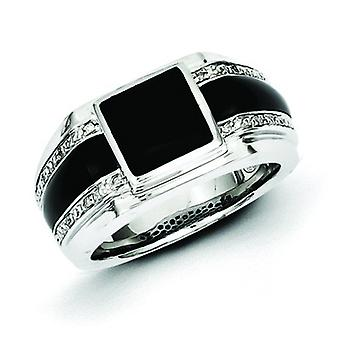 Sterling Silver Diamond and Simulated Onyx Mens Ring - Ring Size: 9 to 11