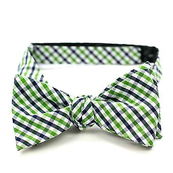 Ulterior motives fly loop tie gingham checkered garden Green