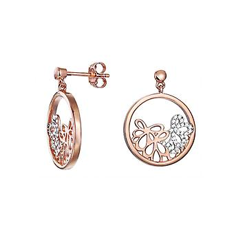 ESPRIT women's earrings silver Rosé cubic zirconia delicate bouquet ESER92948A000