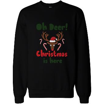 Oh Deer Christmas Is Here Cute Sweatshirts Holiday Funny Pullover Fleece