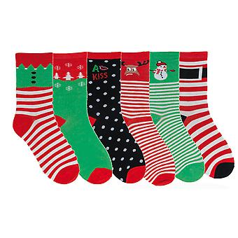 6 Pair Pack Womens Novelty Christmas Comic Character Cotton Socks Size UK 4-7