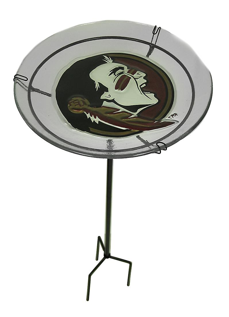 NCAA Florida State University Seminoles Glass Birdbath Garden Stake