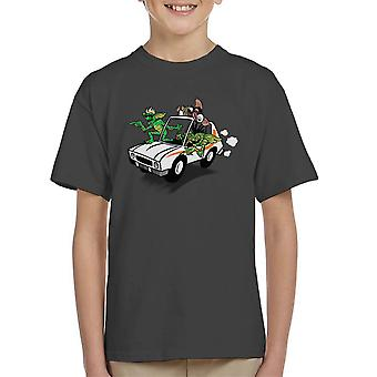 Gremlins Gizmo Tied to the Top of a Car Kid's T-Shirt
