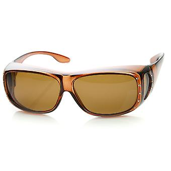 Womens grand verre polarisé couverture Wrap lunettes de soleil avec lentille de côté