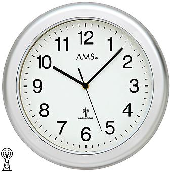 AMS 5956 wall clock radio silver waterproof bathroom clock
