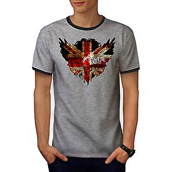 Flag Animal Brittish UK Men Heather Grey / Heather Dark Grey Ringer T-shirt | Wellcoda