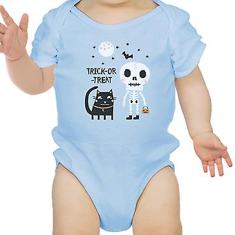 Skeleton Sky Blue Cat Baby Halloween Bodysuit Blue Gift For Baby Girl