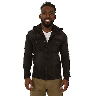 Mens Slim Fit Black Denim Jacket Jersey cotton sleeves Detachable Hood